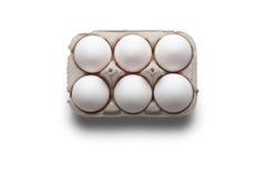 High angle studio shot of six white eggs in a box Stock Photo