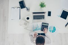 HIgh angle top above photo she her business lady count cost freelance salary calculating income investment compare data royalty free stock photos
