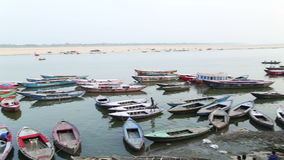 High angle view on anchored boats in bay of Ganges river in Varanasi. stock video
