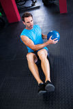 High angle view of athlete holding ball Stock Photo