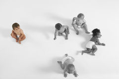 High angle view of baby girl looking at other babies crawling on floor Royalty Free Stock Image