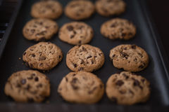 High angle view of baked cookies on black tray Royalty Free Stock Photo