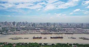 High angle view of Bangkok skyline and view of Chao Phraya River View from green zone in Bang Krachao, Phra Pradaeng, Samut Prakan stock video