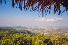 High angle view beautiful landscape of Ao Chalong bay and city sea side in Phuket Province, Thailand stock image