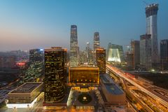High angle view of Beijing Central Business District skyscraper royalty free stock photo