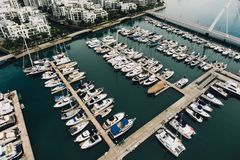 High Angle View of Boats in River Royalty Free Stock Image