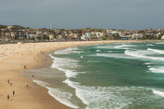 High angle view on Bondi beach, Sydney Australia. This is a high angle view of the famous Bondi beach in summer time Royalty Free Stock Photo