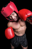 High angle view of boxer with headgear and gloves Royalty Free Stock Image