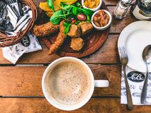 High Angle View of Breakfast on Table Stock Photo