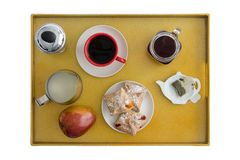 High Angle View of Breakfast Tray for Two Royalty Free Stock Images