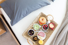 High Angle View of Breakfast Tray on Unmade Bed Stock Photos