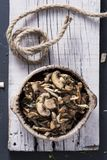 Cooked mixed mushrooms in a bowl. High angle view of a brown earthenware bowl with some cooked mixed mushrooms, such as common mushrooms, oyster mushrooms or royalty free stock photo