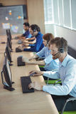 High angle view of business people working at call center Stock Image