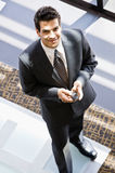 High angle view of businessman with cell phone Stock Photos