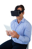 High angle view of businessman with tablet using vr glasses Stock Photography