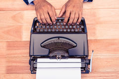 High angle view of businessman typing on typewriter Stock Photography