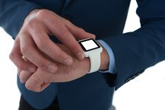 High angle view of businessman using smart watch Stock Photo