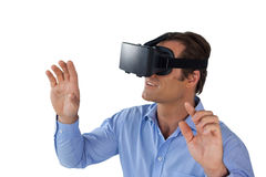 High angle view of businessman wearing vr glasses Stock Photography