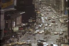 High angle view of busy New York City street stock video footage