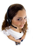 High angle view of call center female royalty free stock photo