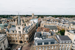 High angle view of Cambridge. High angle view of the city of Cambridge, UK Royalty Free Stock Photography