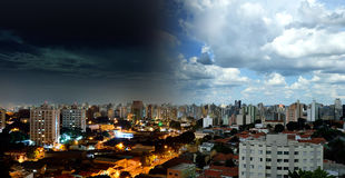 High angle view of Campinas - SP in Brazil. Night and Day Royalty Free Stock Photo