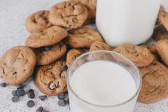Chocolate chip cookies on table. High angle view of chocolate chip cookies on table surrounded by chocolate chips Royalty Free Stock Photography