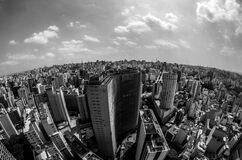 High Angle View of Cityscape Against Cloudy Sky Royalty Free Stock Images