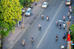 High angle view cityscape and traffic of Saigon city Stock Photography