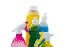 High angle view of cleaning bottles Royalty Free Stock Images