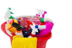 High angle view of cleaning spary and bottles in bucket Royalty Free Stock Images
