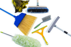 High angle view of cleaning work tools Stock Photography