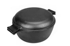 High Angle View On The Closed Cast Iron Pan Isolated Royalty Free Stock Images