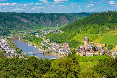 High Angle view on Cochem and Mosel River in Germany Royalty Free Stock Photo