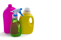 High angle view of colorful cleaning bottles Stock Photography