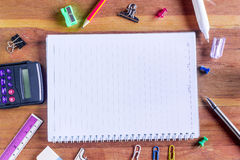 High Angle View of Colorful School Supplies Organized Stock Photo