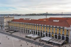 High angle view of Commerce square in Lisbon stock photography