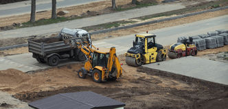 High angle view of construction machinery Royalty Free Stock Images