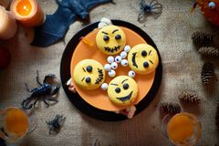 Halloween cake with emoticons stock images