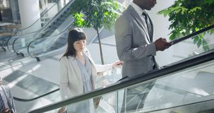Business people using escalator in a modern office 4k. High angle view of diverse Business people using escalator in a modern office. Businessman using mobile stock video