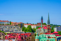 High angle view of downtown Gothenburg Stock Images