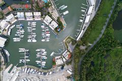 High angle view by drone of the Yacht,motorboat and sailboat in royalty free stock image