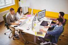 High angle view of editors working at creative office Stock Images