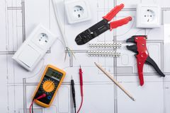 Electrical Instrument With Tools On A Blueprint Stock Image