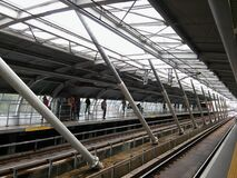 High Angle View of Elevated View of Railroad Station Royalty Free Stock Photography