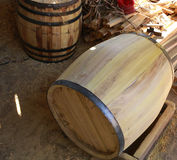High Angle View of Empty Wooden Barrel Royalty Free Stock Photography