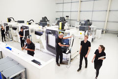 High Angle View Of Engineering Workshop With CNC Machines Stock Image