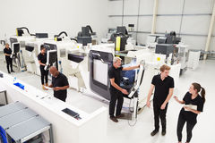 High Angle View Of Engineering Workshop With CNC Machines Royalty Free Stock Photos