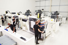 High Angle View Of Engineering Workshop With CNC Machines stock images