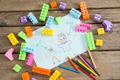 High angle view of fathers day greeting card with toy blocks Royalty Free Stock Photography